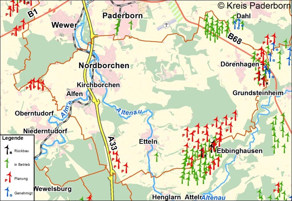 Karte Paderborn.19 Geplante Windkraftanlagen In Borchen Kreis Paderborn Informiert